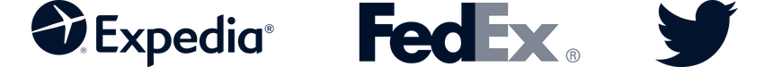 Icons (Expedia, FedEx and Twitter)